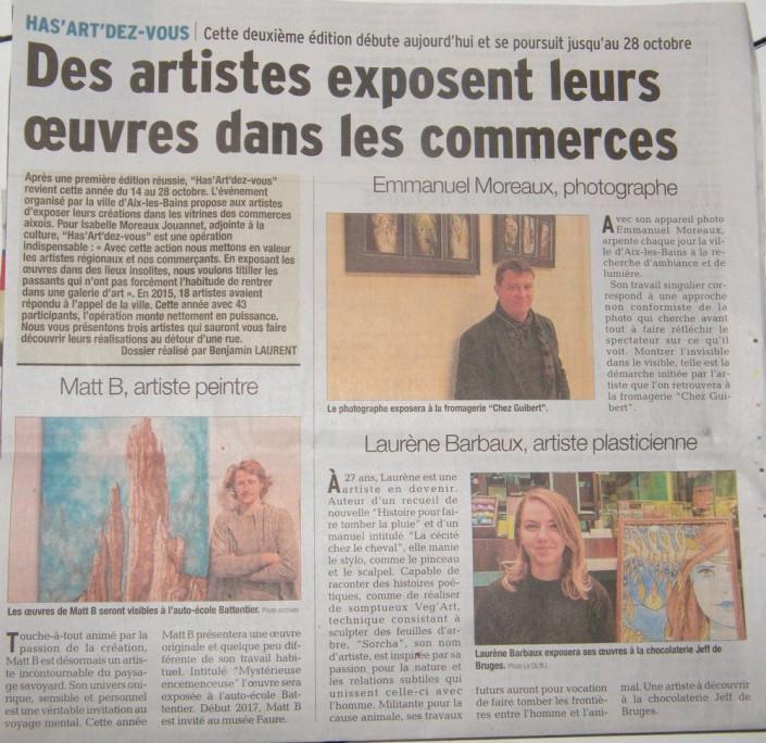 Le Dauphiné Libéré - Exposition Has'ART'dez-vous